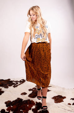 Camel Leopard Pleated Maxi Skirt Of Our Dreams