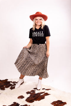 Taupe Leopard Pleated Maxi Skirt Of Our Dreams