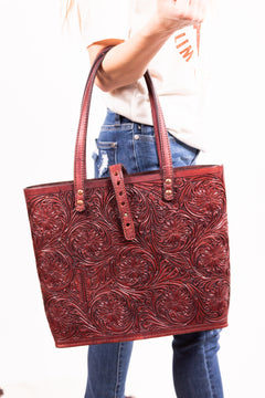 Red Tick Tooled Purse