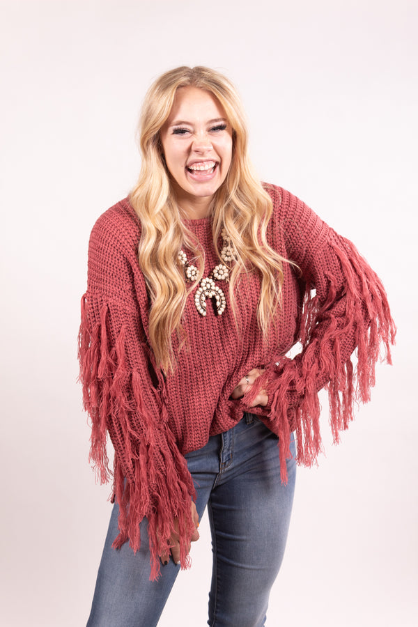 Forever Fringe Mauve Knit Sweater Top