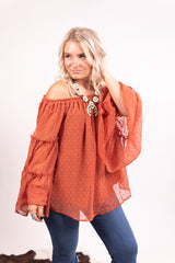 Rust Swiss Dot Bell Sleeve Top