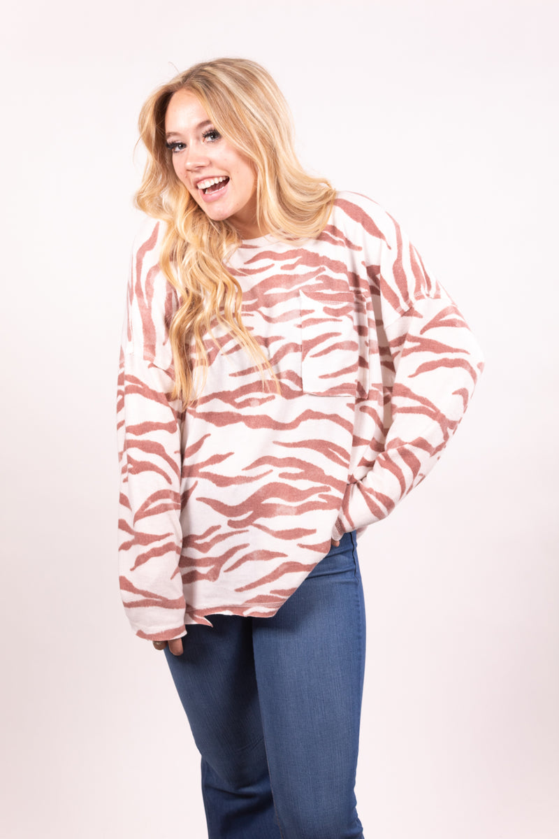 Peachy Zebra Long Sleeve Top