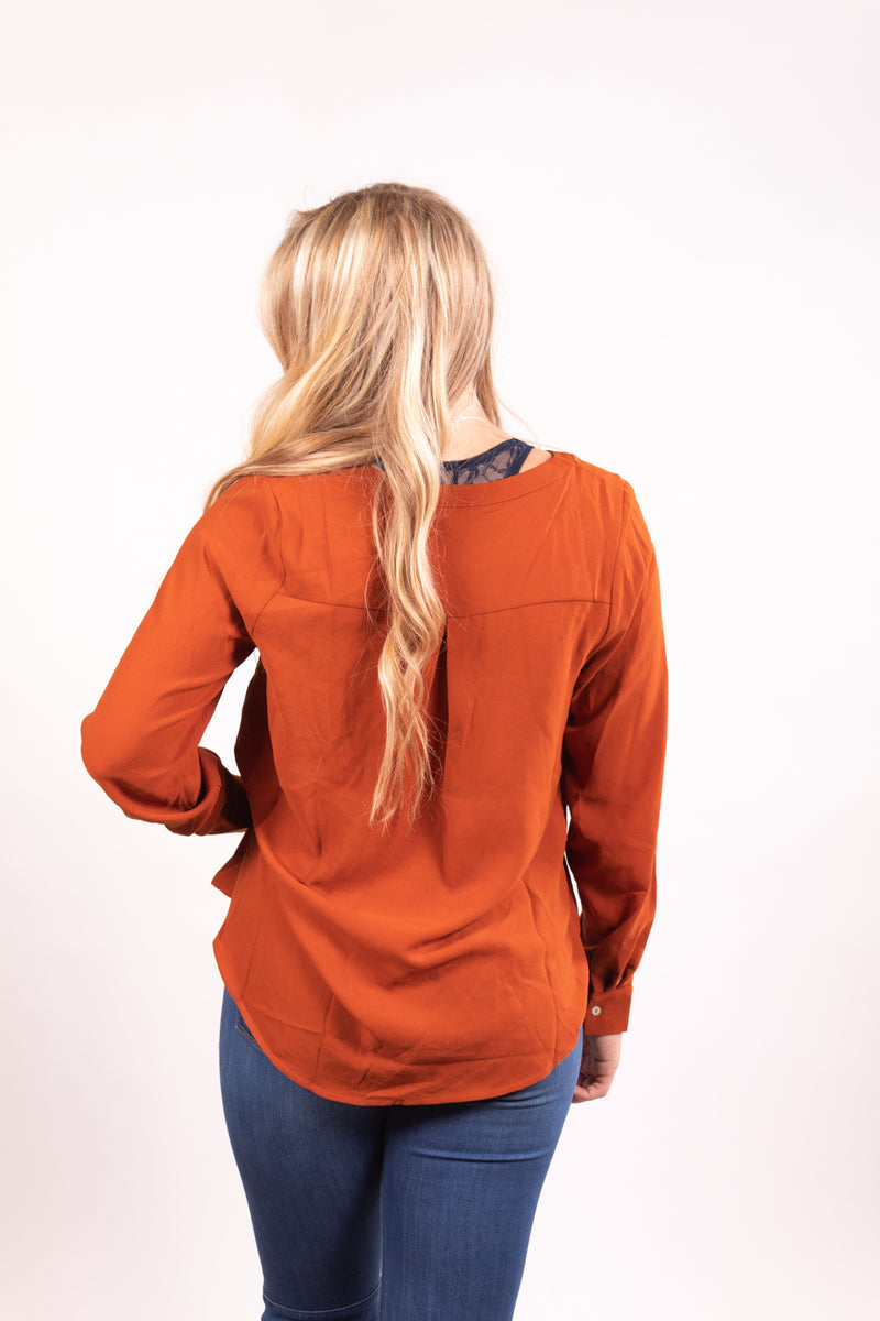 Rust She Means Business Long Sleeve Top