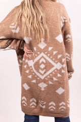 Taupe Aztec Winter Cardigan