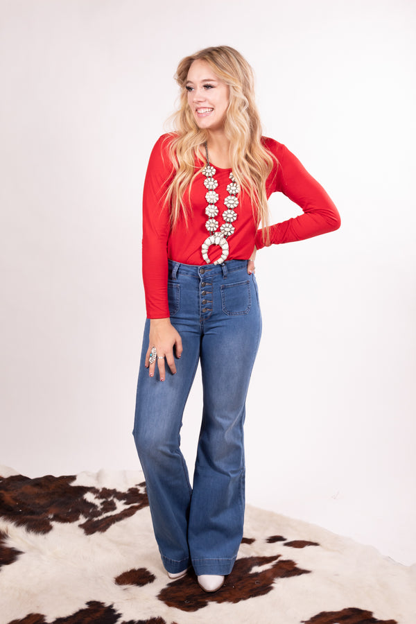 Ruby Red Long Sleeve Body Suit Top