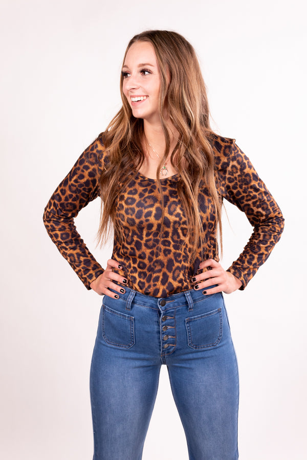 Leopard Long Sleeve Body Suit Top