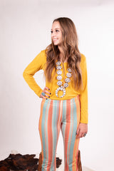 Mustard Long Sleeve Body Suit Top