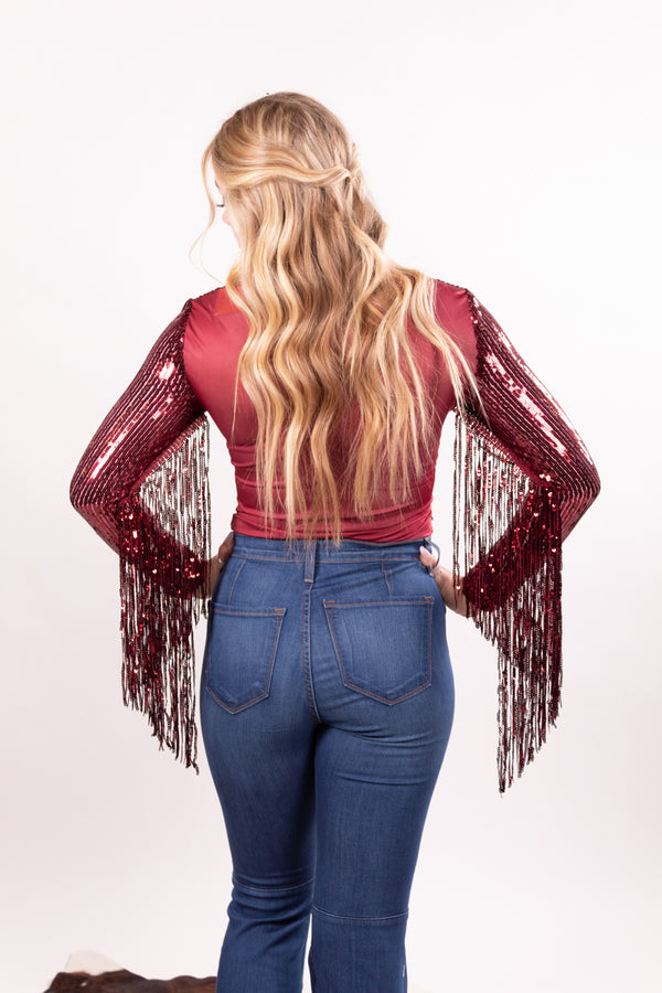 Superstar Ruby Red Fringe Body Suit Top