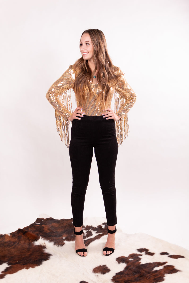 Gold Fever Fringe Body Suit Top