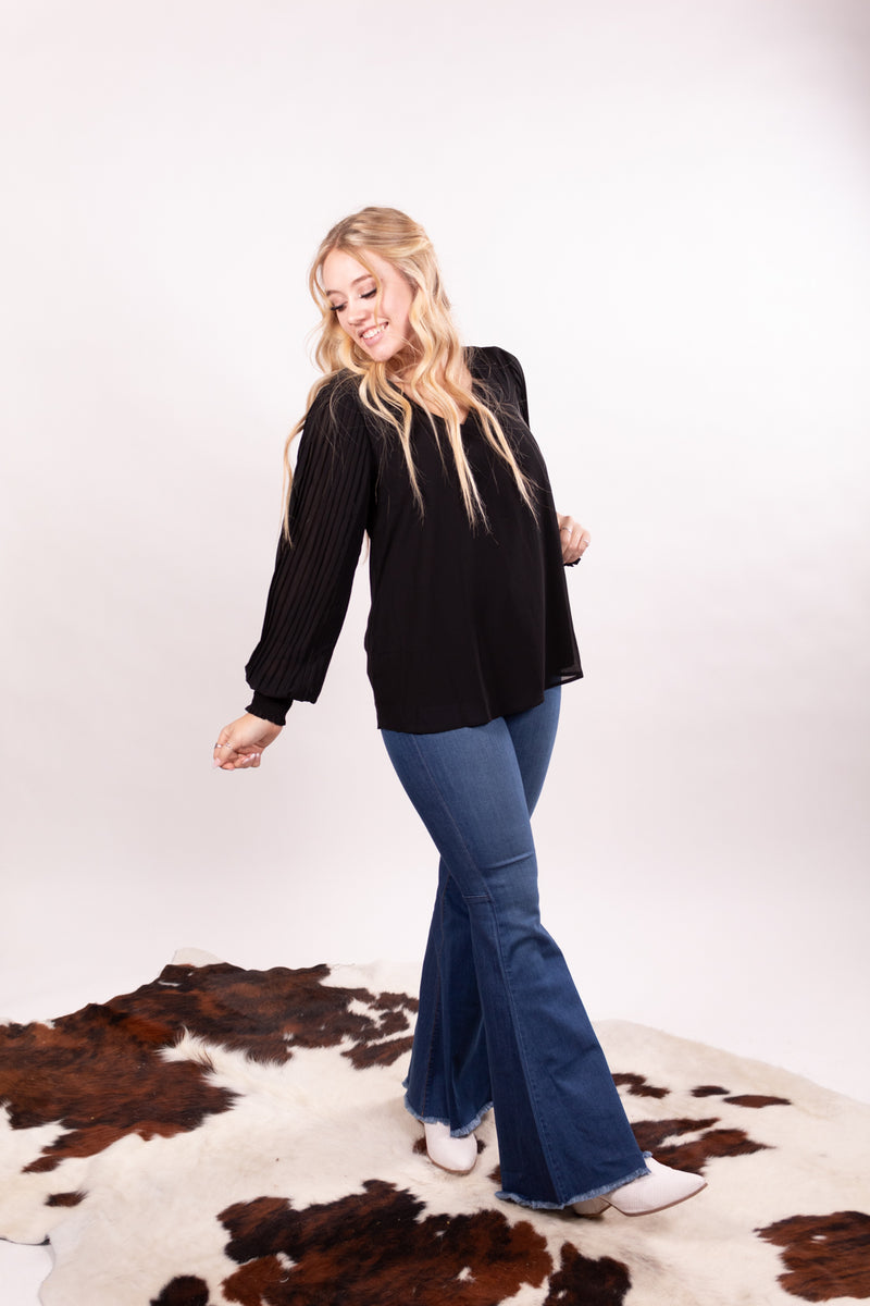 Pleated Midnight Long Sleeve Top