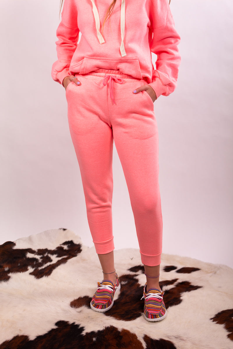 Hot Pink Hoodie Top And Bottom Lounge Set