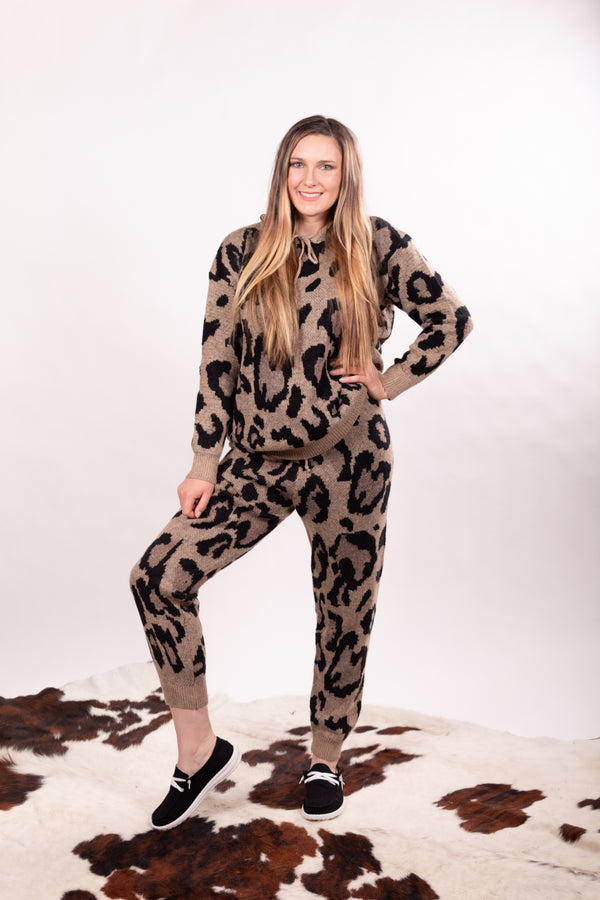 Leopard Love Taupe Joggers