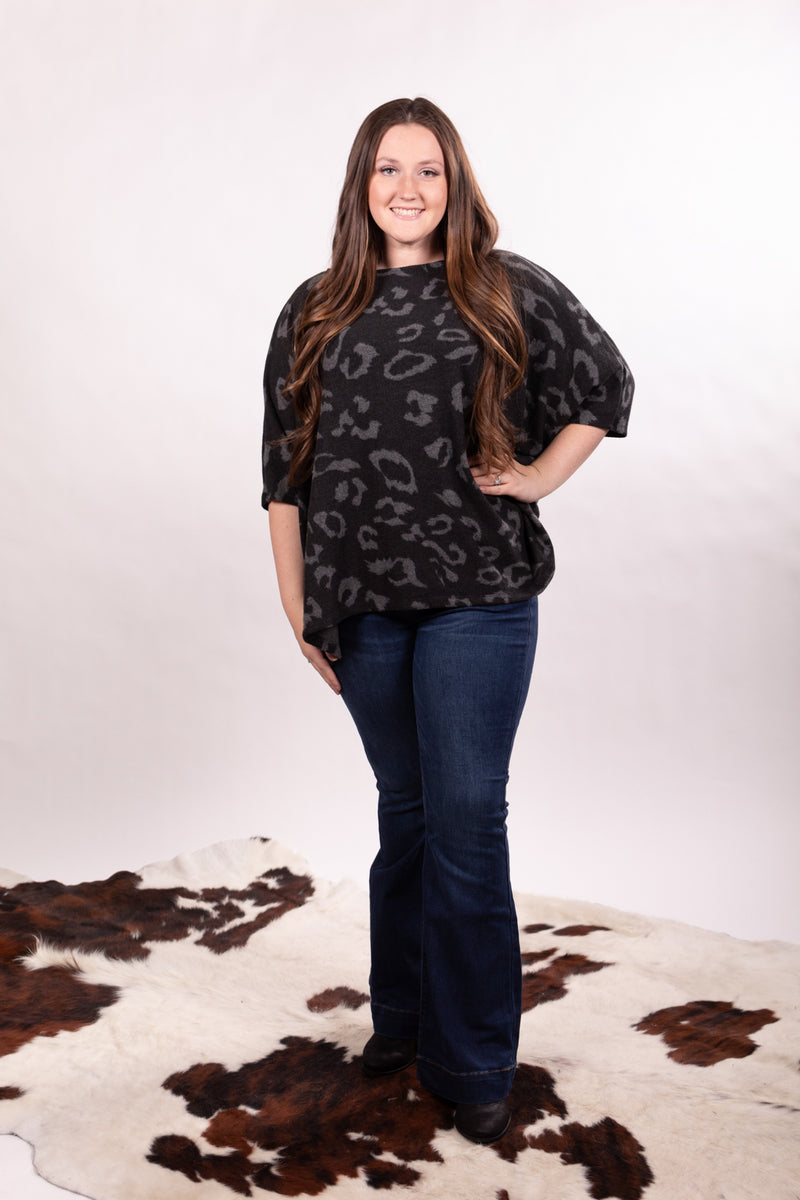 Charcoal Leopard Dolman Top