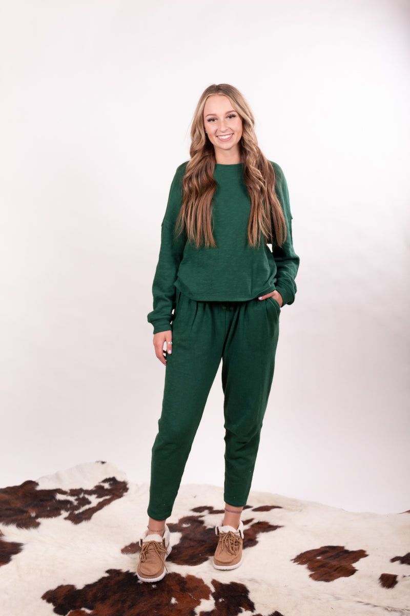 Hunter Green Oversized Top And Bottom Lounge Set
