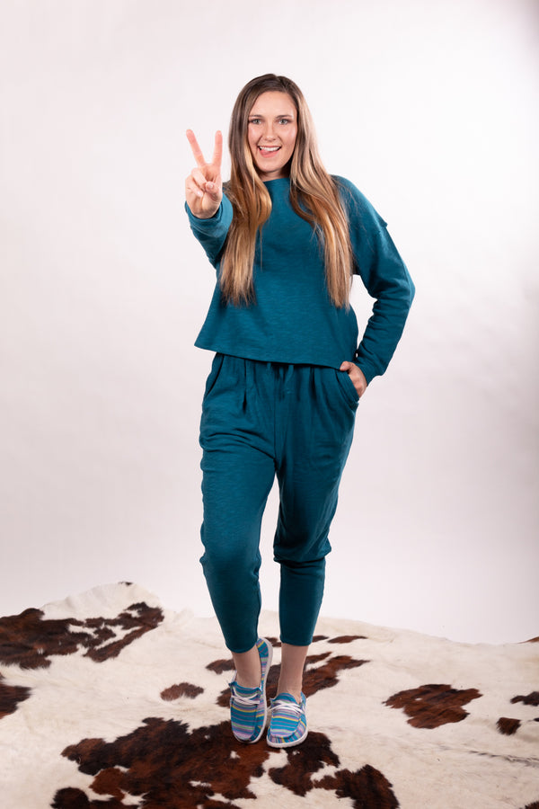 Teal Oversized Top And Bottom Lounge Set