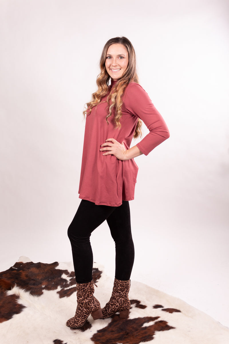 Mauve Mock Neck Tunic Top