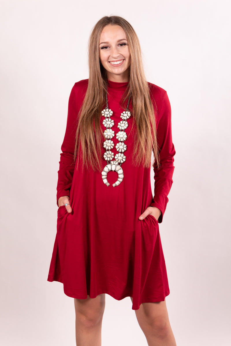 Burgundy Mock Neck Tunic Dress