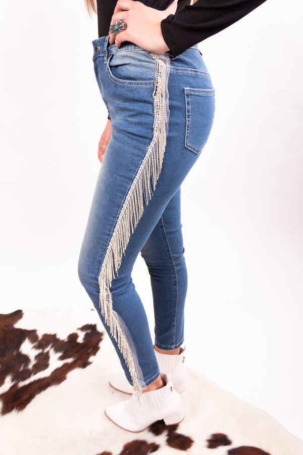 Wander West Sequin Fringe Denim Skinnies
