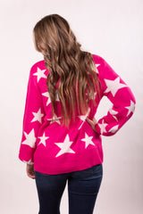 Hot Pink Star Bright Turtle Neck Top