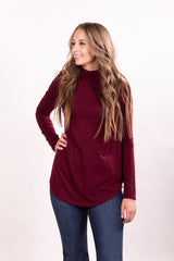 Burgundy Mock Neck Tunic Top