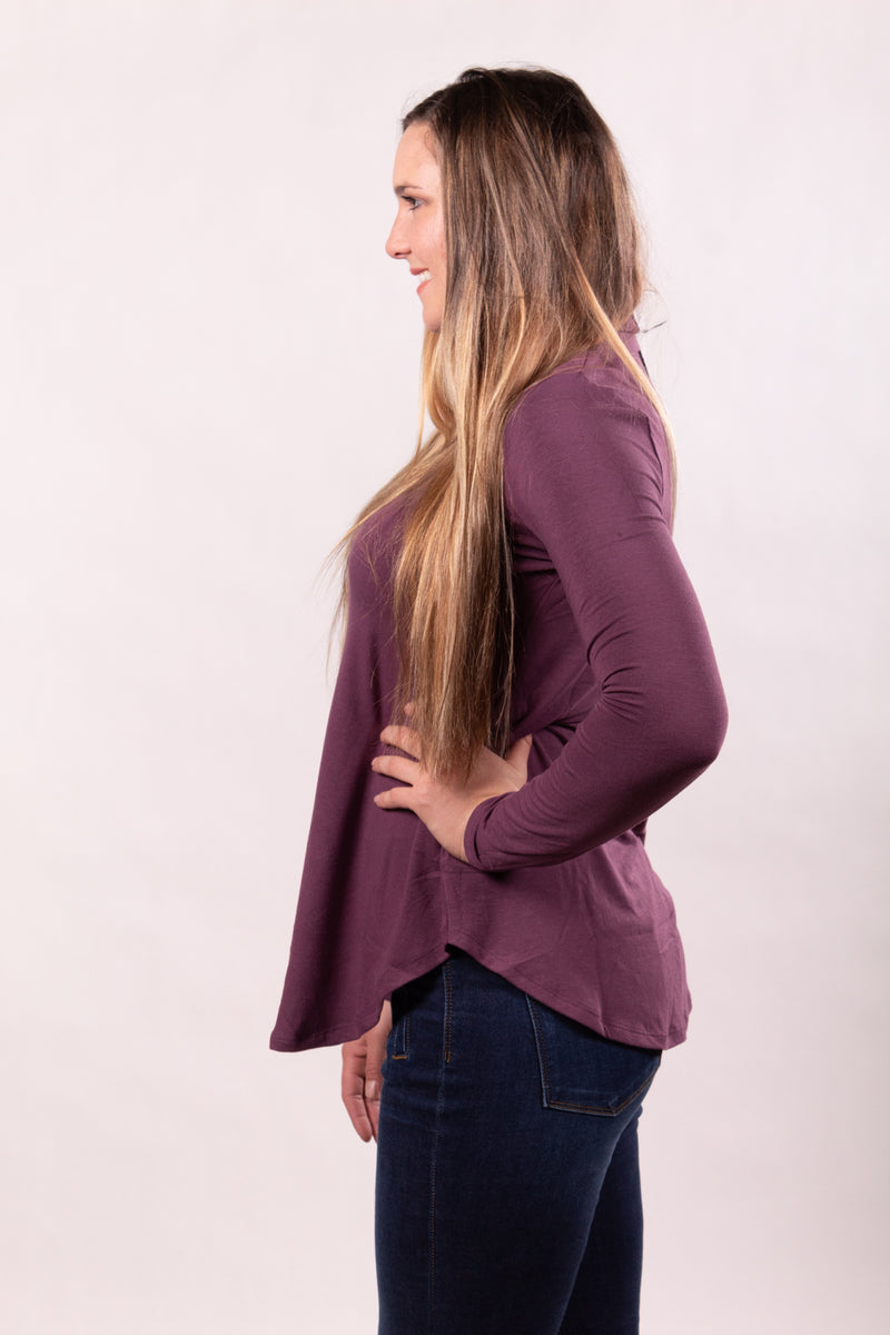 Eggplant Mock Neck Tunic Top