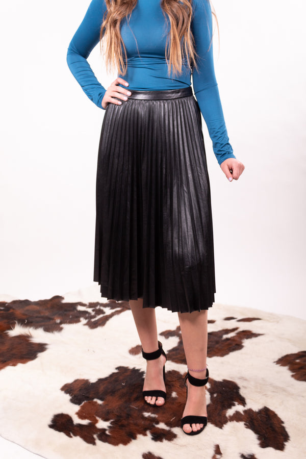The Brit Faux Leather Pleated Midi Skirt
