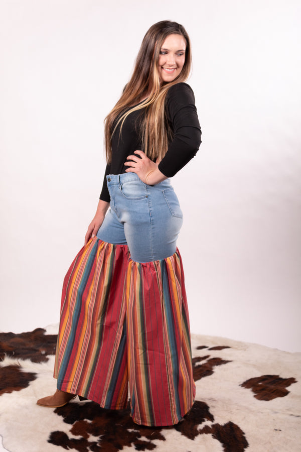 Serape Denim Red Party Pants
