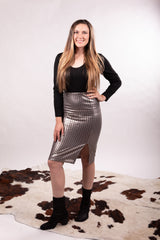 Gun Metal Sequin Skirt With Slit