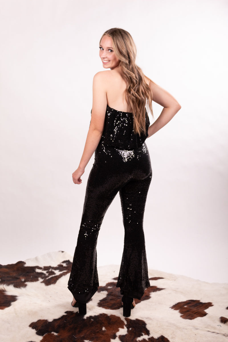 Midnight Sequin Strapless Jumpsuit
