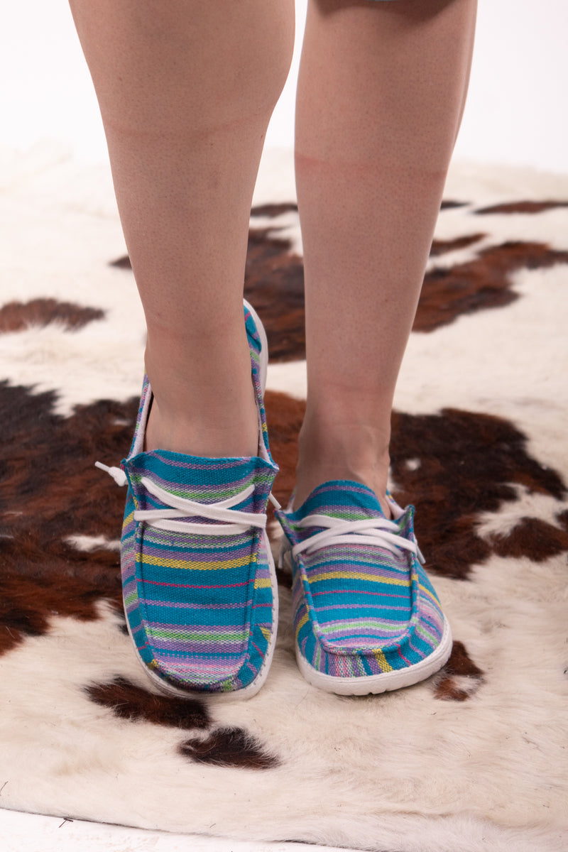 Turquoise Serape Queen Gypsy Jazz Sneakers