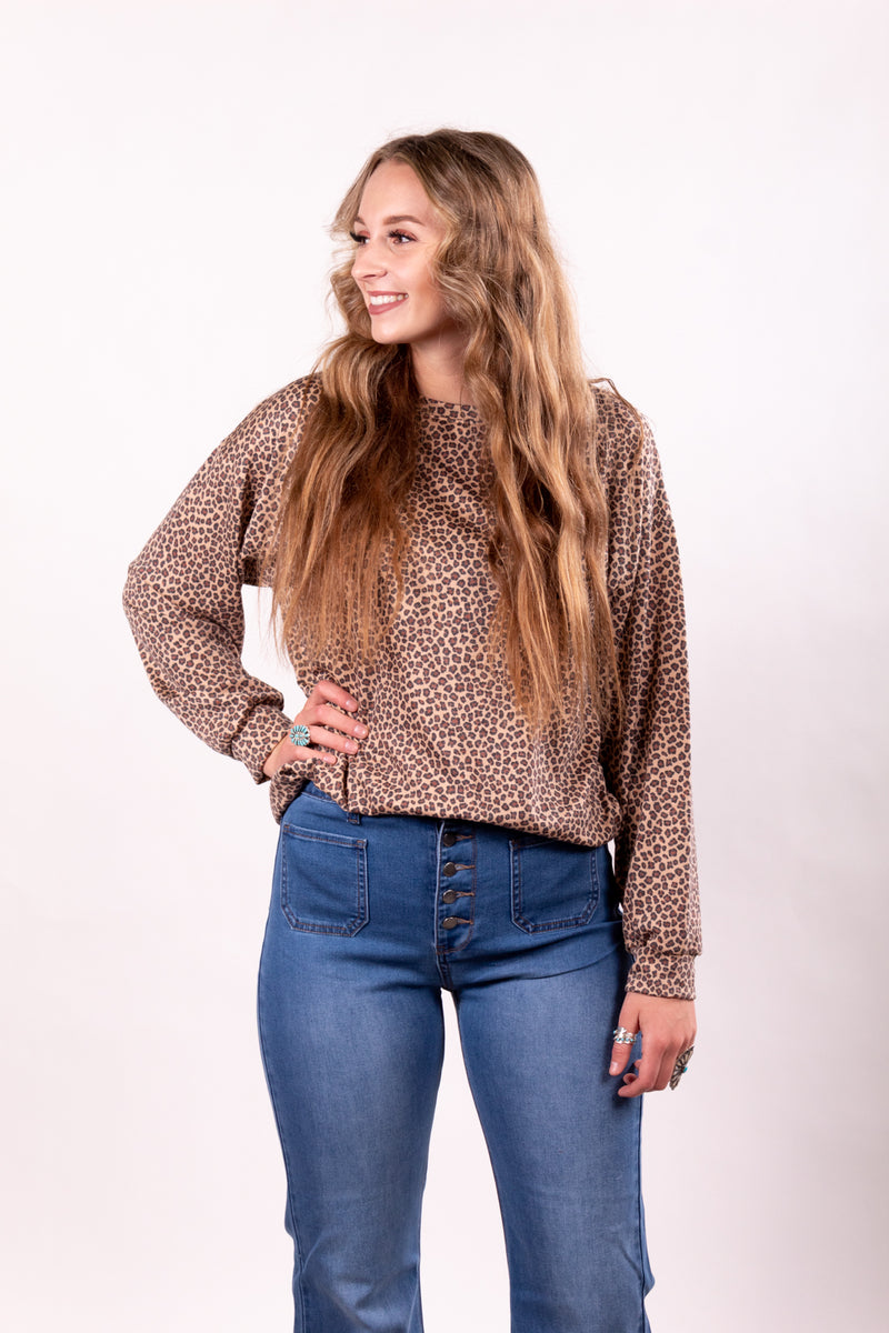 Tiny Leopard Stretch Long Sleeve Top