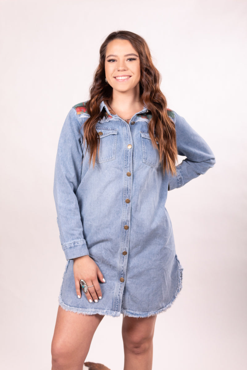 The Round Up Aztec Denim Jacket Dress