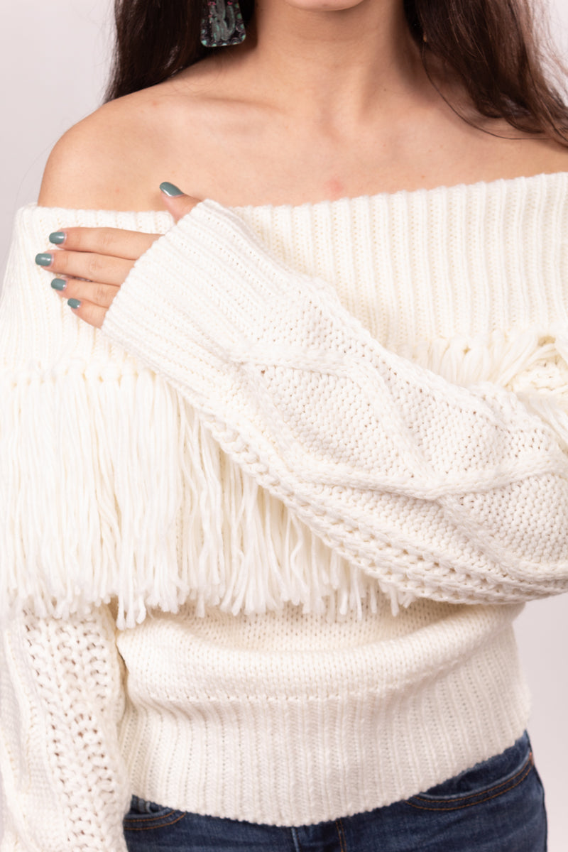 White Fringe Out West Sweater Top