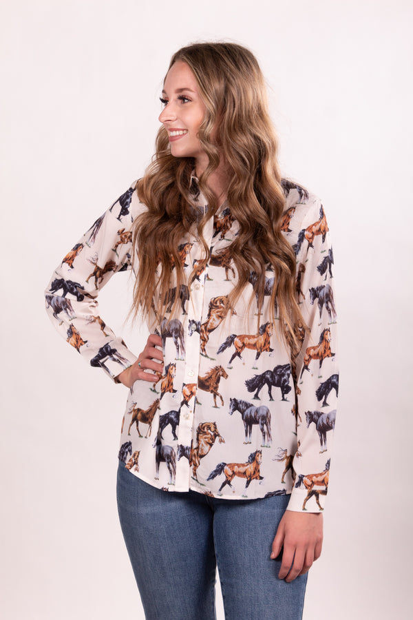 Wild Horse Button Up Top