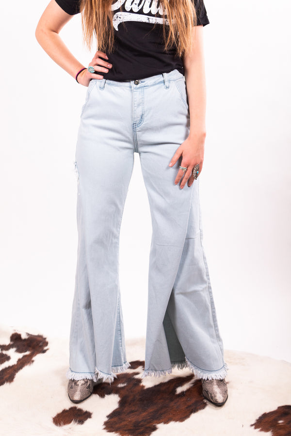 Light Wash Wide Leg Denim Split Pants