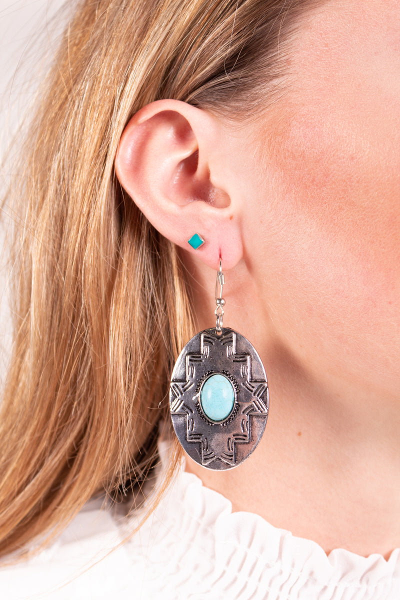 Round About Turquoise Dangle Earrings