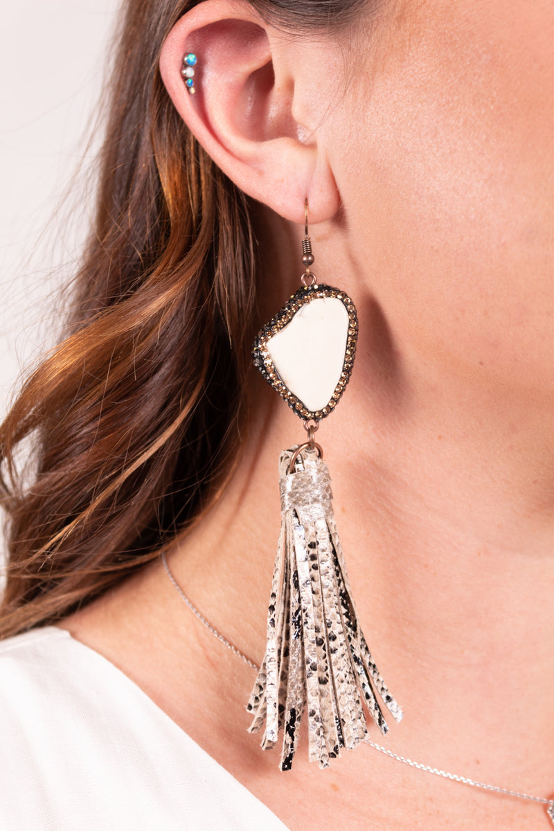 Python You're A Gem Tassel Dangle Earrings