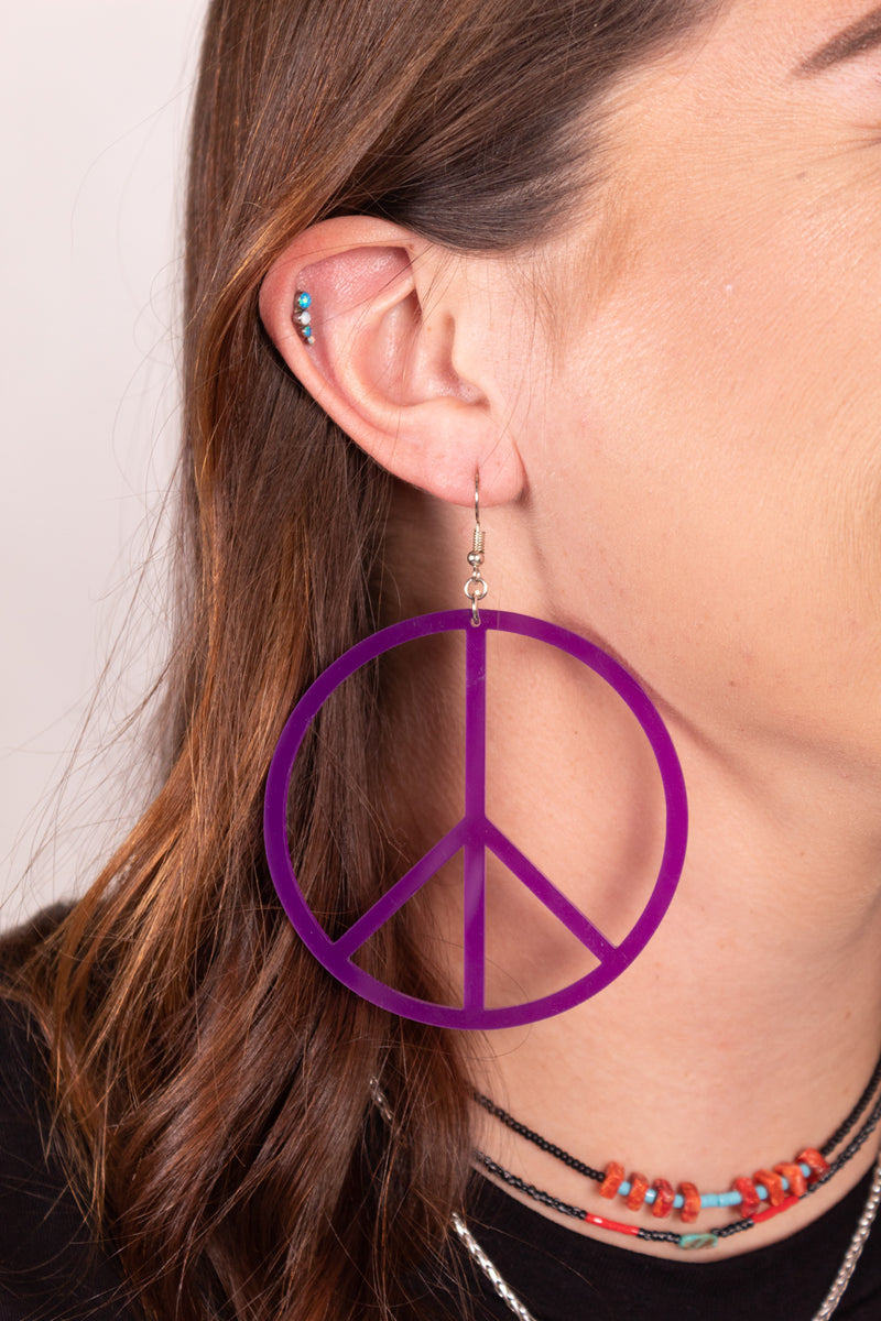 All The Peace Purple  Dangle Earrings