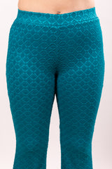 Deep Turquoise Ribbed Stretch Flares