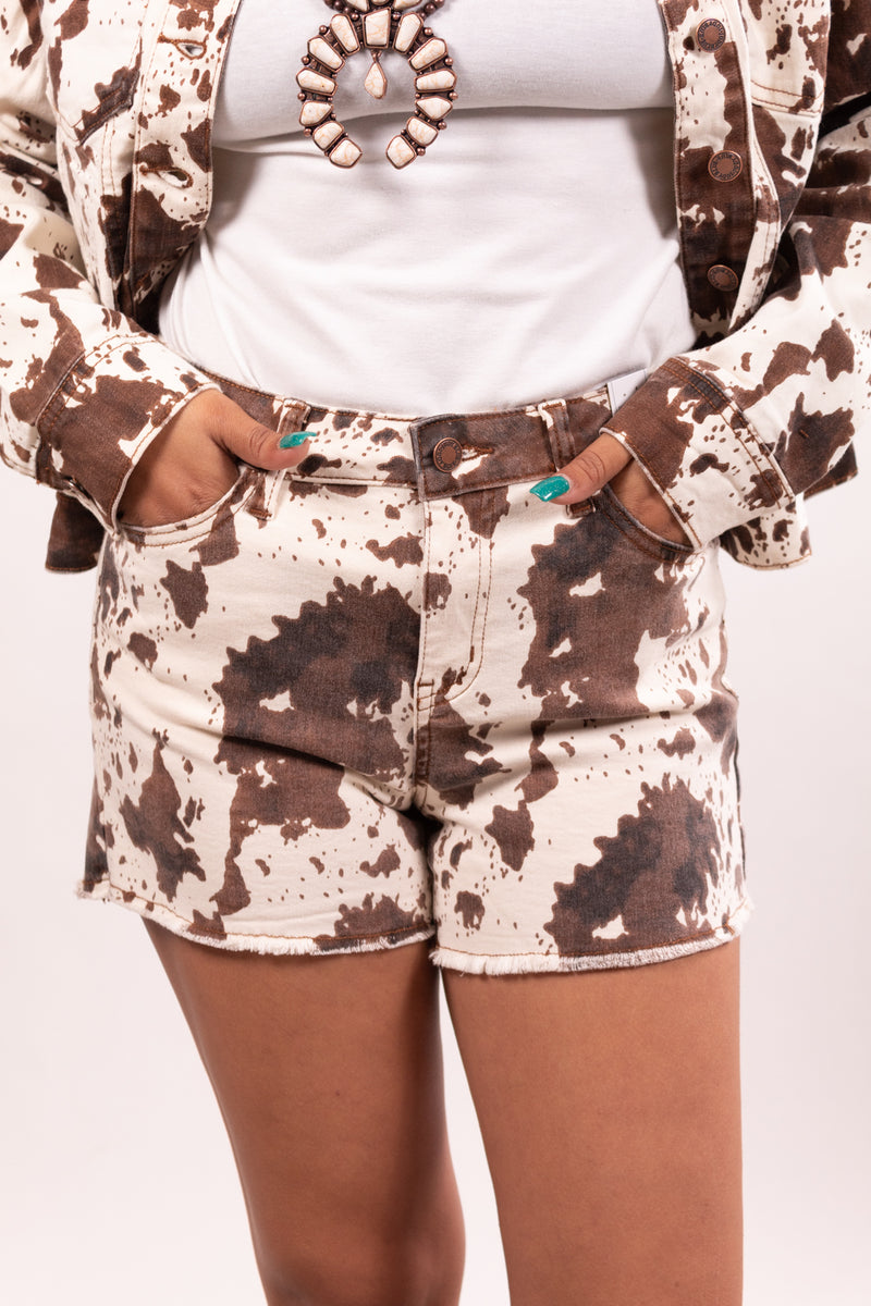 Judy Blue Cow Print Denim Shorts