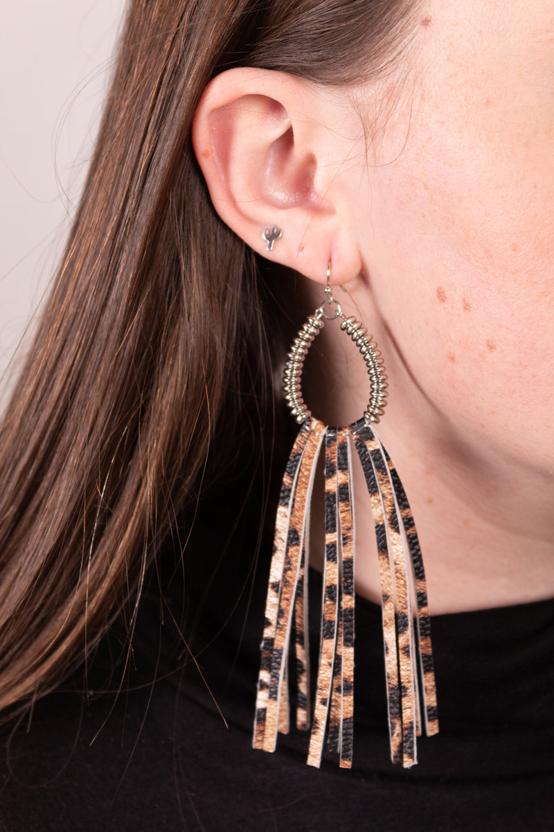 Cowboy Killer Leopard Fringe Earrings