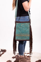 The Heather Turquoise And Tooled Leather Purse