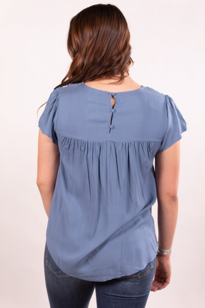 Baby's Blue Embroidered Baby Doll Top