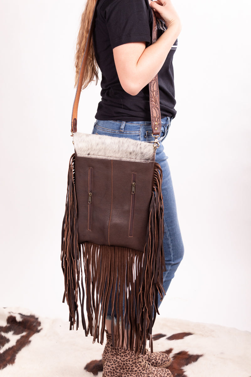 Wanda Hide Leather Fringe Purse