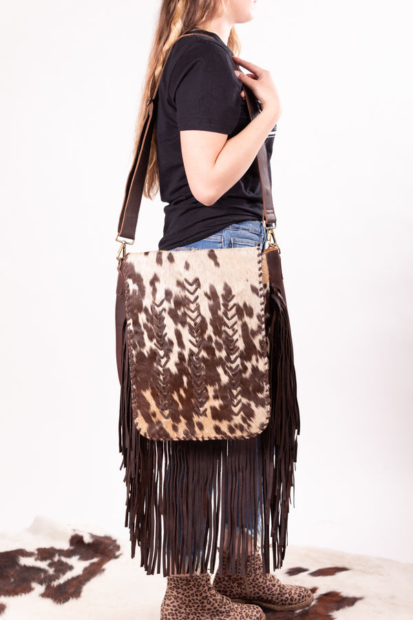 Caught Up In The Country Hide Fringe Purse