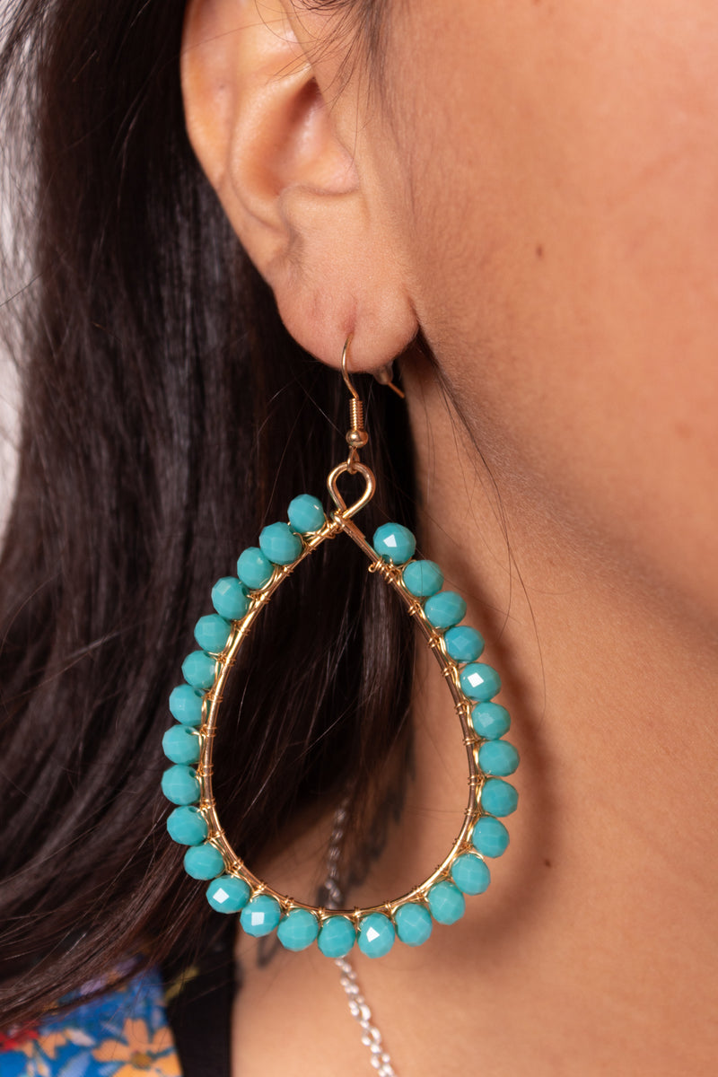 Turqioise + Gold Teardrop Dangle Earrings