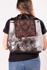 Cowboy Rides Away Leather And Hide Backpack