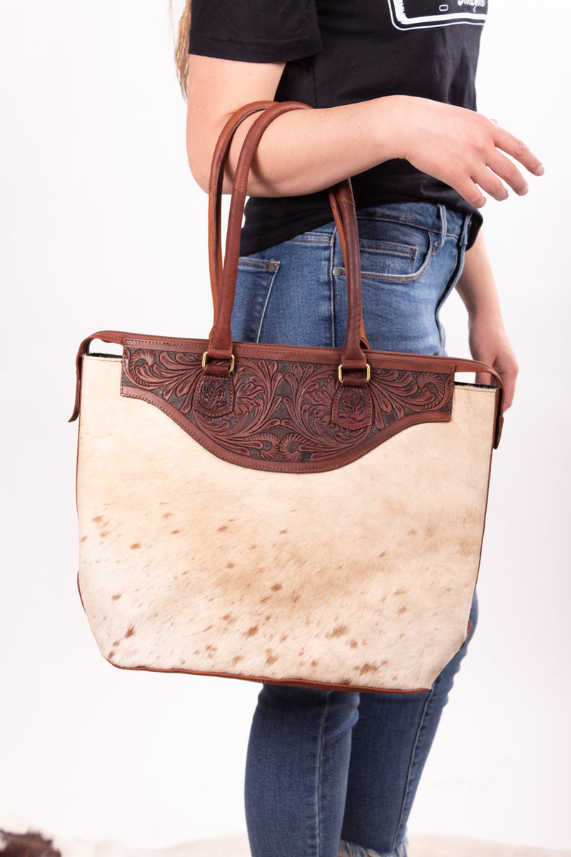 Hide Cowgal Hand Tooled Leather Purse