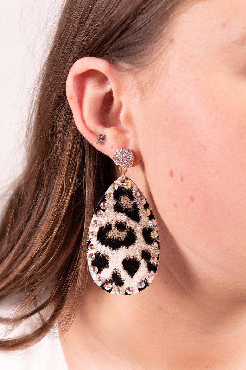 Rhinestone Leopard Cowgirl Stud Earrings