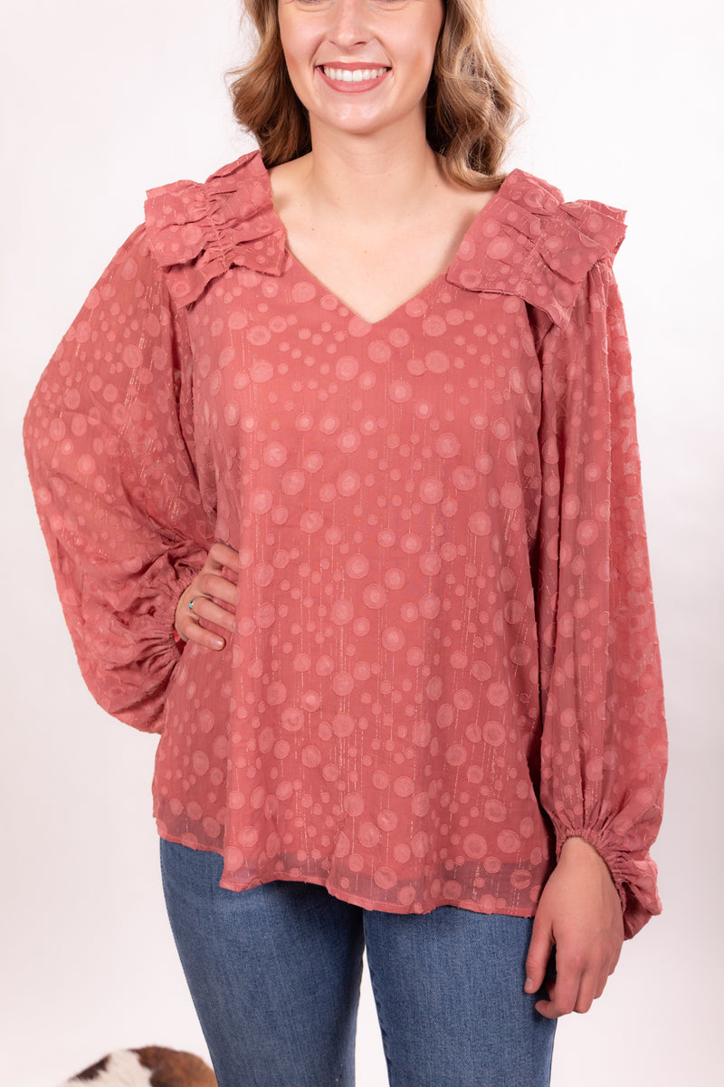 Blushed Out Polka Dot Top